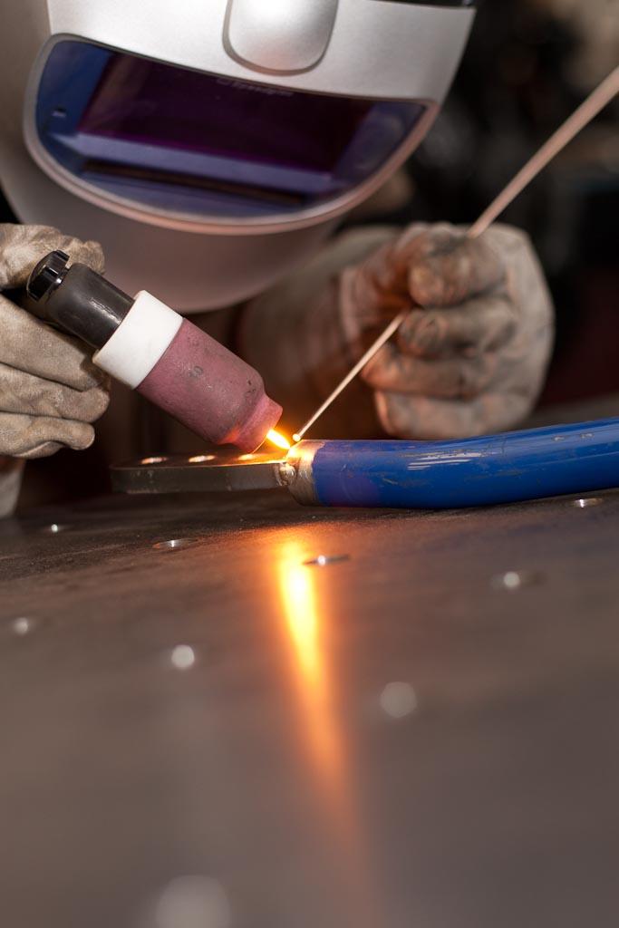 post flow TIG weld