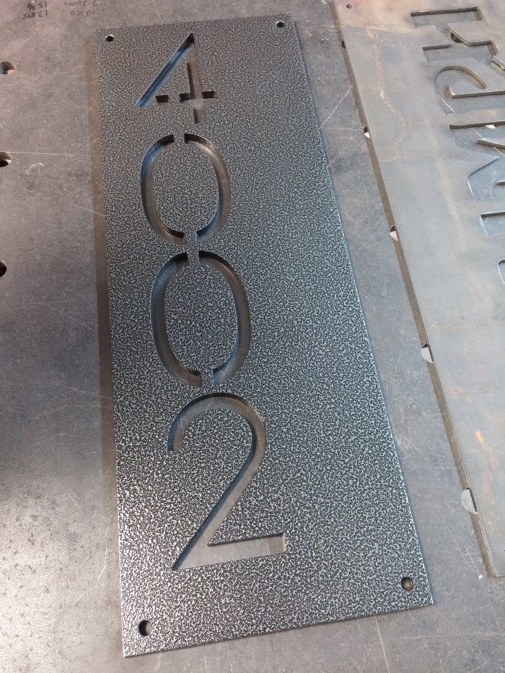 powdercoated house sign